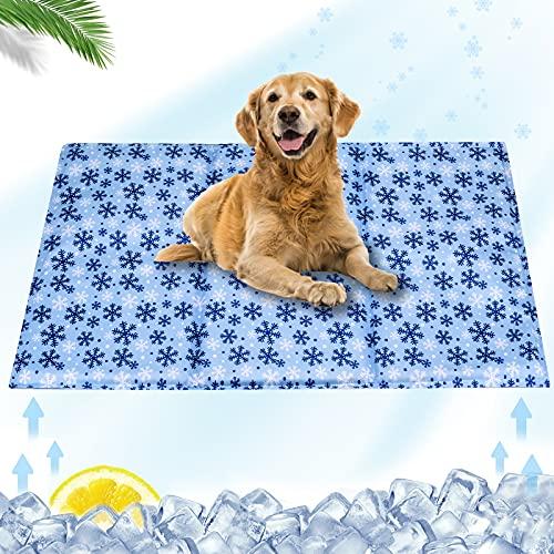 Alfombrilla de refrigeración para perros, almohadilla de gel fría para gatos y perros, manta de hielo lavable para perreras, cajas y camas, diseño de copo de nieve, L (90 x 50 cm)