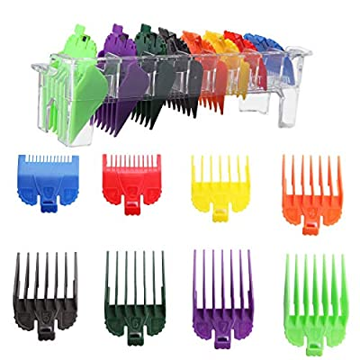 """8pcs Hair Clipper Attachments Combs Professional Universal Clipper Guards Plastic Limit Guide Comb Replacement Set for Most Wahl Trimmers Clippers Length from 1/16"""" to 1"""" (1.5-25mm)"""