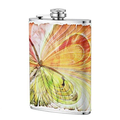 Petaca de acero inoxidable con diseño de mariposa de pergamino portátil de 8 onzas a prueba de fugas para whisky con envoltura de cuero para viajes, camping, botella de vino