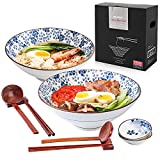 Ceramic Japanese Style Ramen Bowl Set of 2(10 Piece), WEUNUM 60oz Large Ramen Bowls and Spoons Set with Spoon, Chopsticks & Saucers for Pho Udon Soba Soup Noodles or Asiane Food (plum blossom)
