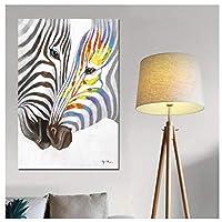 Ipea 水彩ゼブラホワイトブラックアニマルキャンバス絵画アートミニマリストの壁の写真プリントとポスターモダンな家の装飾-20X28インチフレームなし
