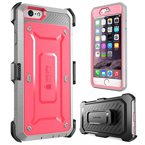 SUPCASE [Unicorn Beetle Pro] Case Designed for iPhone 6S, with Built-In Screen Protector Rugged Holster Cover for Apple IPhone 6 Case / 6S 4.7 Inch display (Pink/Gray)