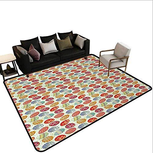 MsShe Tapijt liner voor tapijt Pasen, Patchwork Stijl Grafische Scrapbook Patroon met Daisy Naaien Knopen en Ei figuren, Multi kleuren