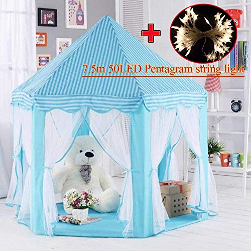MYMM Play Tent, Children Princess Castle, Kids Nook Tents for Indoor & Outdoor Use, Carrying Case, baby birthday gift, Play House, Puzzle game (Blue)