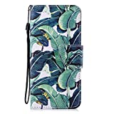 Cfrau Leather Case with Black Stylus for Samsung Galaxy S9,Cute Design Magnetic Wallet Flip PU Leather Card Slots Kickstand Hand Strap with Soft TPU Case for Samsung Galaxy S9 - Banana Leaf