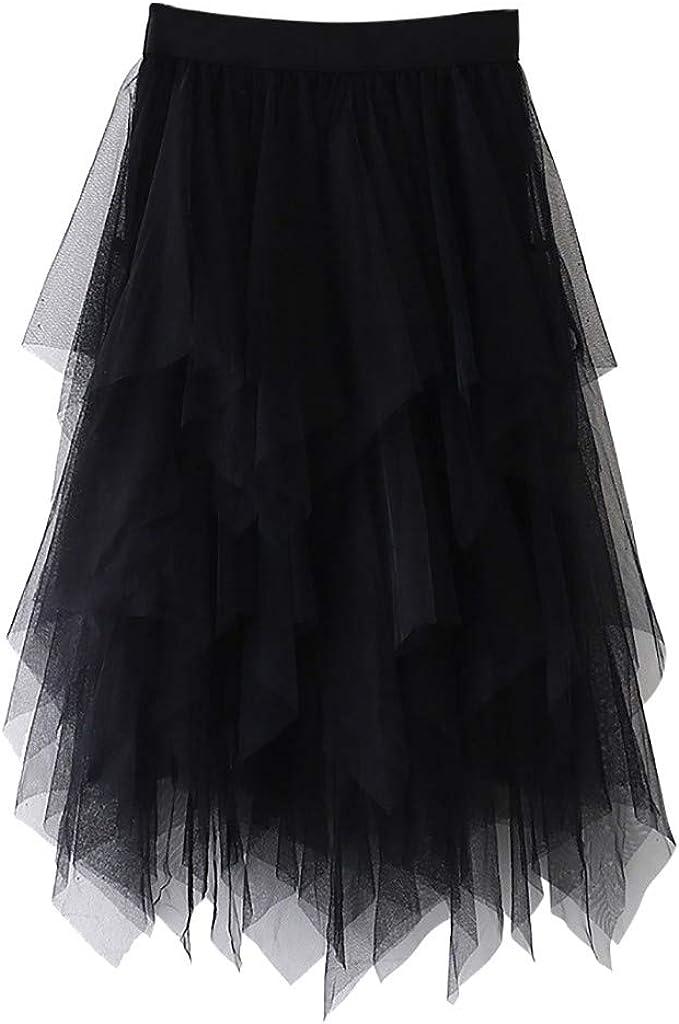 Gergeos Women's Tulle Skirt Irregular A Line Knee Length Mesh Layered Tutu Pleated Dance Skirt