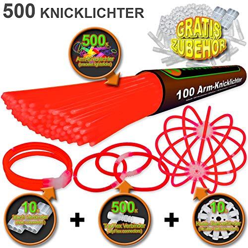 500 Knicklichter ROT | inkl. 500x TopFlex | 10x Dreifach | 10x Ball Verbinder | Premiumqualität