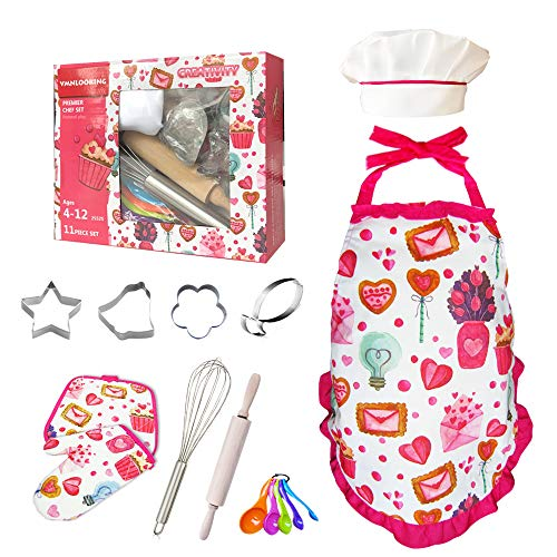 Cupcake Kids Cooking and Baking Set with Kids Aprons for Girls,Chef Hat Oven Mitt for Toddler Girl Toys,Dress Up Chef Costume Role Play, Age 5-12 …