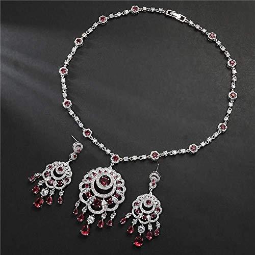 Joyas de ágata Novia de la Boda de Las Mujeres circonio cúbico Infinity Gota Colgante de Collar cuelga los Pendientes Conjunto, Color: Rojo ágata (Color : Red)