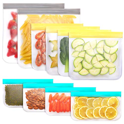 Jagrom 10 Pack Reusable Storage Bags 2 Gallon & 4 Sandwich Lunch Bags & 4 Small Kids Snack Bags For...