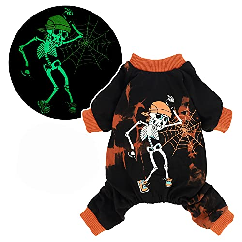 Fitwarm Halloween Glow in The Dark Tie Dye Skeleton Dog Costume 100% Cotton Pajamas Lightweight Pet Clothes Doggie PJS Puppy Onesie Doggy Outfits Cat Jumpsuits Black X-Large