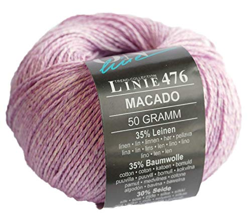 Online Linie 476 Macado - Ovillo de lana (lino, algodón y seda, 50 g, 150 m, grosor de aguja 3-4...