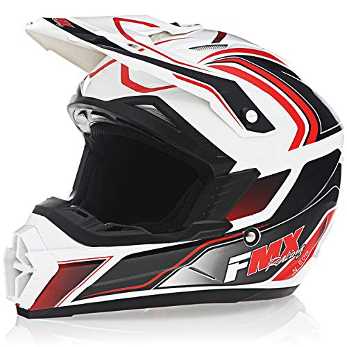 FMX Adult Motocross Dirt Bike Off-Road ATV Motorcycle DOT Approved White Red Helmet size X-Large