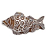 Indian Wood Stamps Fish Decorative Blocks Stamps for Clay Printing Block