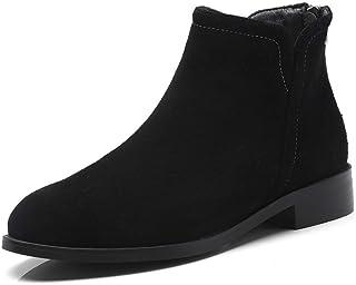 BalaMasa Womens Nubuck Solid Bucket-Style Leather Boots ABM13245