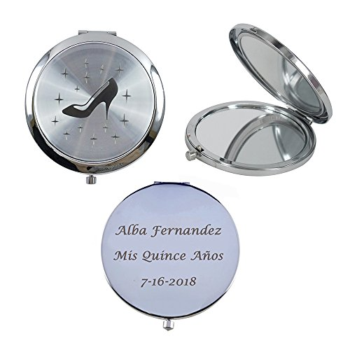 Personalized Silver Compact Mirror Favor (12 PCS) - Cinderella High Heel Shoe Design Quinceanera/ Sweet 16/ Zapatilla de Cenicienta Birthday Gift (Silver)