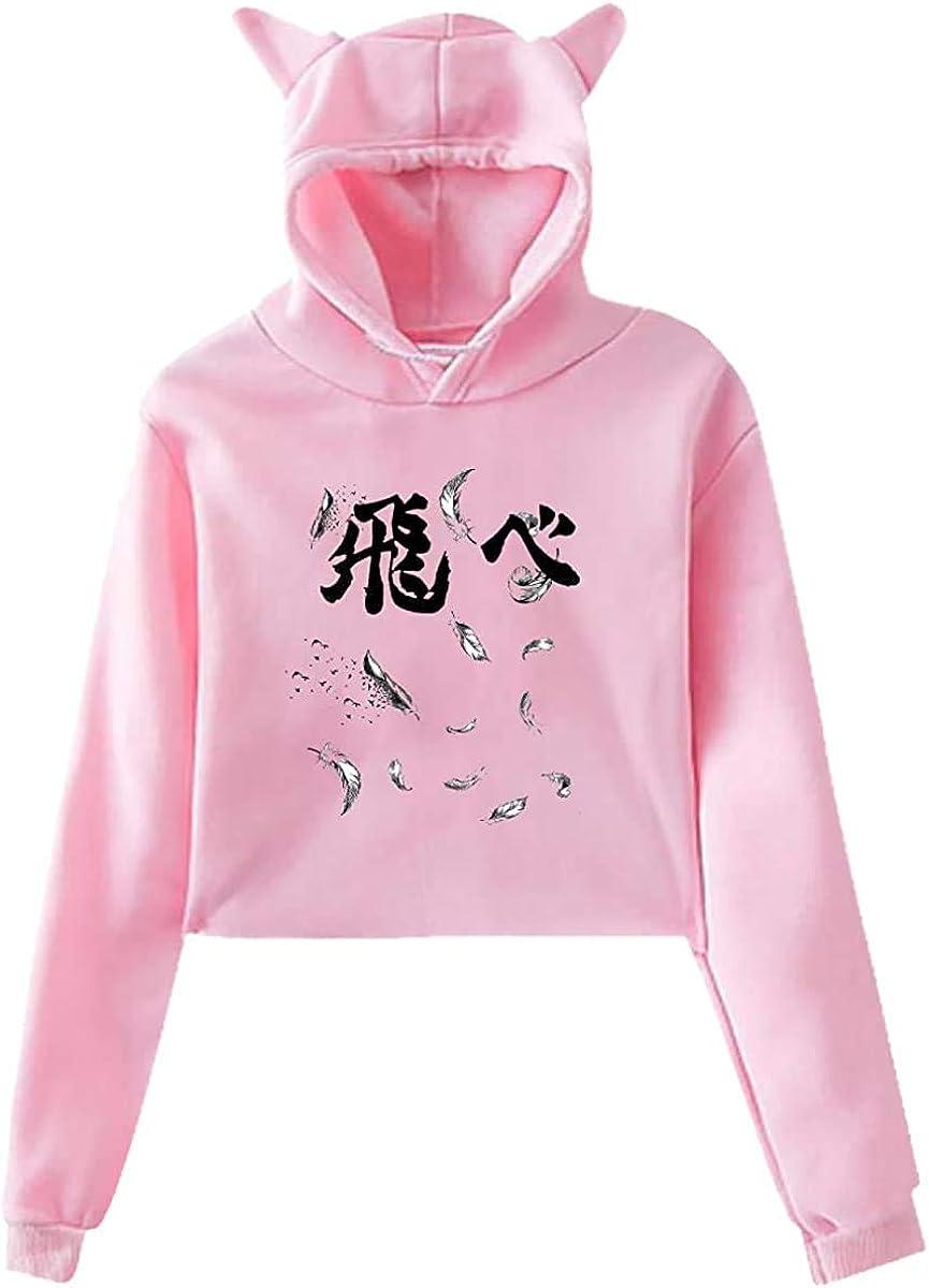 SWSWST Anime Haikyuu Fly Heart Feathers Womens Hoodies Cat Ear Pullover Hooded Sweatshirt Crop Top
