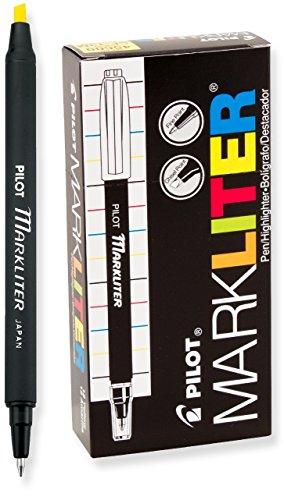PILOT Markliter Stick Pen & Highlighter, Black Ballpoint Ink/Yellow Highlighter, 12 Count (45600),Yellow/Black