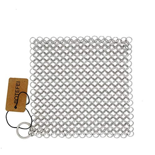 Cast Iron Cleaner 6 x 6.3 Premium 316L Stainless Steel Chainmail Scrubber for Skillet, Wok, Pot, Pan; Pre-Seasoned Pan Dutch Ovens Waffle Iron Pans Scraper Cast