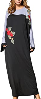 Zhuhaitf Flowers Embroidered ドレス Loose Gown Robe Dresses 最高のために for Muslims Ladies Moroccan Kaftan Malaysia Islamic Abaya