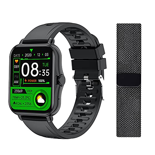 Smart Watch, Fitness Tracker with 1.69 inch Touch Screen, Smartwatch for Men Women Blood Oxygen Meter Heart Rate Sleep Monitor Answer Calls Voice Output Pedometer for iOS Android Phones (Black)