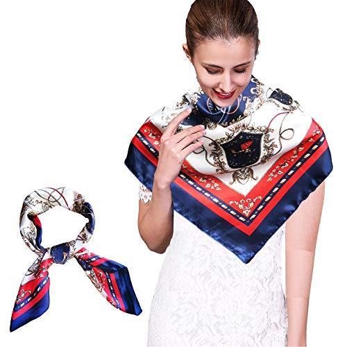 Bufanda de Seda Mujer Larga Pañuelos de Seda Mujer Fulares Chales Estolas Pañuelos de Protección Solar Beige Pañuelos de Seda Cuello Pañuelos Para la Cabeza
