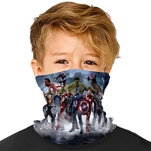Superhero Movie Characters Kids Neck Gaiter Face Cover Mask,Reusable Scarf Balaclava Masks Headband for Dust