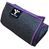 Sticky Grip Yoga Towel - Best Non-Slip Towel for Hot Yoga - Anti-Slipping, Sweat Absorbent Microfiber Towels with Silicone Grip Bottom for Standard & XL Sized Mats (Grey w/ Purple Trim)