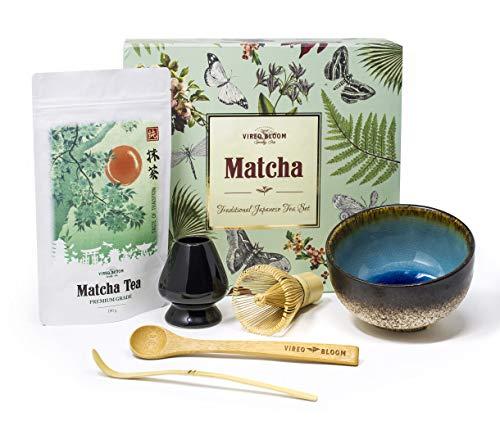 Vireo Bloom Set Cadeau le Uji Cérémonie Matcha Tea- 50g Original Japonais Thé Vert Poudre - Kit de préparation Ustensiles de Thé Matcha pour Débutant
