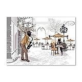 Tulup Impression sur Verre de 100x70 cm Image Tableau Photo décorative panoramique pour la Cuisine et Le Salon - Personnes - Musicien De Rue - Beige