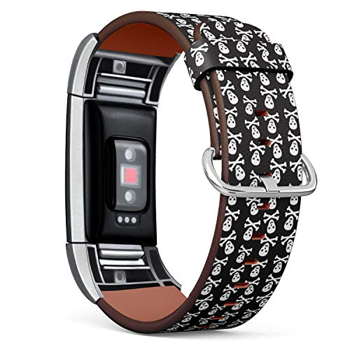 Compatible with Fitbit Charge 2 - Leather Band Bracelet Strap Wristband Replacement with Adapters - Halloween Pirate Skulls