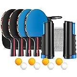 XDDIAS Raquetas de Tenis de Mesa, Portátil Conjunto de Tenis de Mesa -4 Raquetas+8 Pelotas + 1 Red Retráctil Portátil para Interior al Aire Libre