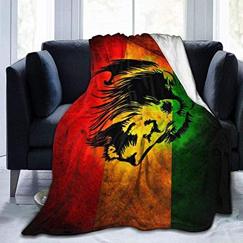 USDFYU Super Soft and Comfortable All-Season Sofa Bed Blanket Jamaican Lion Flag Blanket Throw Suitable Children and Adults Traveling Office Camping 80'X60'