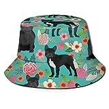 GMGMJ Sombrero de mujer negro floral francés, verano hombres y mujeres impresión doble cara plegable sombrero de sol pescador sombrero cubo gorro, para verano talla única