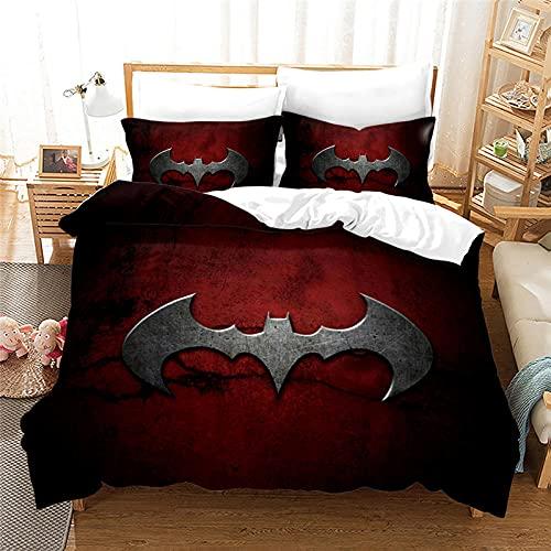 Funda Nordica 155X220 Cm Colcha Edredon Cama 155 Batman Superhéroe Dios Tejido De Poliéster Suave Y Cómodo Ropa De Cama Juego De 3 Piezas con 2 Fundas De Almohada 40X70 Cm