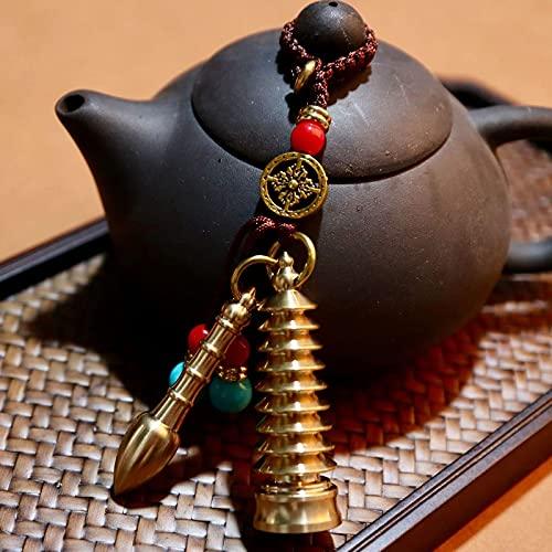 DERUKK-TY Llavero chino de la decoración del Feng Shui con la torre de Wenchang y los colgantes de la pluma de Wenchang, llavero de latón puede traer adornos de la buena suerte, latón