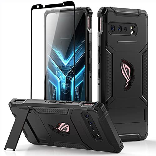 Fanbiya ROG Phone 3 Hülle, ROG Phone 3 Strix ZS661KS Schutzhülle kompatibel mit Air Kackstand, integrierter Schutzhülle aus gehärtetem Glas (Schwarz mit gehärtetem Glas)