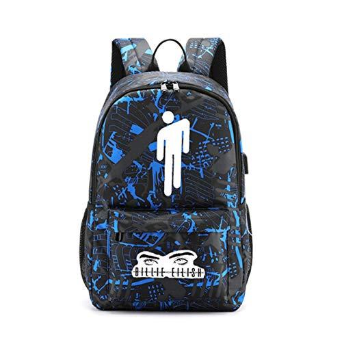 Billie Eilish Unisex Fashion Friend Backpack USB Charging Daypack Outdoor Travel Shoulders Bag Sport Backpacks Bookbag