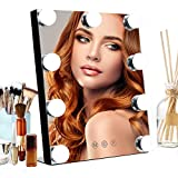 Vanity Mirror with Lights, HOMPEN Hollywood Makeup Mirror with Dimmable LED and 3 Color Lights, Aluminum Frame Tabletop Vanity Mirror
