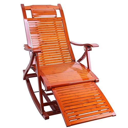 CXQD Tumbonas Ocio Sillas de terraza de bambú Sillones reclinables Sillón Plegable Siesta Silla Playa Terraza Respaldo Jardín Sillas para Patio o Playa Playa, balcón, Parque o Camping