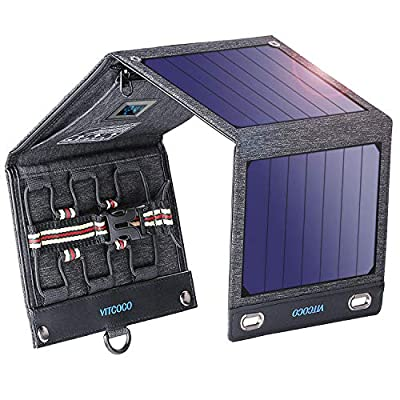 Solar Charger Solar Panel Charger, VITCOCO 16W Foldable Solar Phone Charger with 2 USB Ports & Display Function for iPhone, iPad, Android, Power Bank, Waterproof Portable for Outdoor Camping