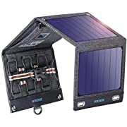 VITCOCO Panel Solar Portátil, 16W Portatil Cargador Solar Portátil Plegable Impermeable Power Bank con 2 USB de Salida Puertos for Telephone, Camera etc.