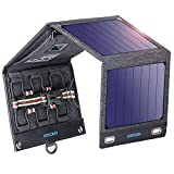 VITCOCO Panel Solar Portátil, 16W Portatil Cargador Solar Portátil Plegable Impermeable Power Bank con 2 USB de Salida Puertos for Telephone, Camera etc.