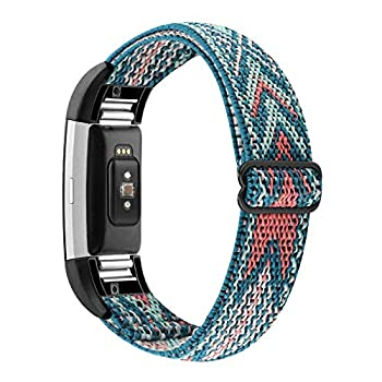 YONWORTH Adjustable Elastic Watch Band Compatible with Fitbit Charge 2 Bands Stretchy Nylon Loop Strap Soft Wrist Bands Bracelet Sport Replacement for Women Men  Green Arrow