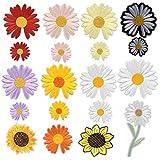 Flecken Patches Aufbügeln, 19 Stück Applikation Flicke, Sun Flower Patch Sticker, Bestickte Patches, Nadelarbeiten Sticker, DIY Kleidung Applikation Patches für T-Shirt Jeans Kleidung...
