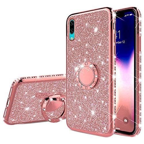 Saceebe Compatible avec Huawei Y7 Pro 2019 Coque Transparente Glitter Bling Paillette Diamant Brillant Strass Housse Silicone TPU Etui avec Anneau Support Bague Anti-Choc,Or Rose
