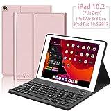 Custodia con tastiera per iPad 10.2, iPad Air 10.5, iPad Pro 10.5, Boriyuan Smart Cover Auto Wake/Sleep con tastiera Bluetooth, per iPad 10.2/10.5, oro rosa