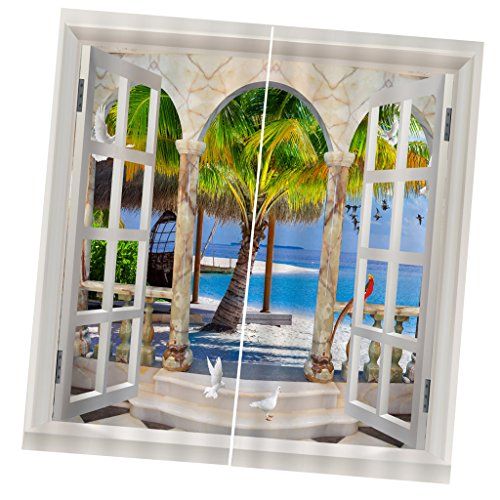 F Fityle 2er Set 3D Vorhang Vorhänge Dekoschal Gardine Schlafzimmer Wohnzimmer Fotogardinen Fotovorhang - 12#