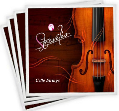 Stravilio Full Set of Cello Strings, Size 4/4 and 3/4 Cello Strings, Steel Core with Alloy Wound, Medium Tension Soft Tone, Student Grade, Full set A D G and C, (Bronze Label)