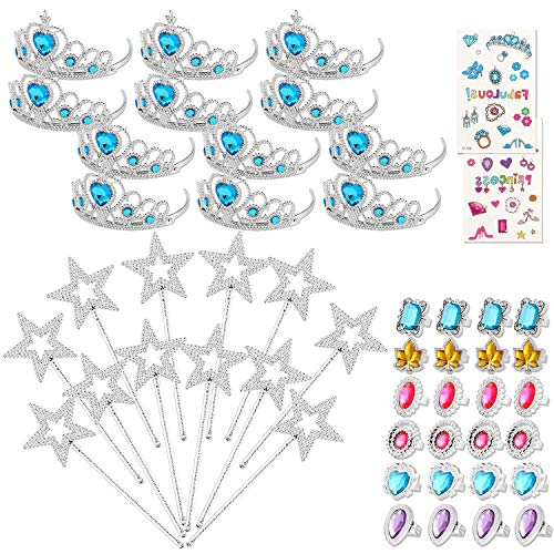 50 Pcs Princess Pretend Jewelry Toy Princess Crowns Wands Rings Princess Dress Up for Girl Princess Party Supplies